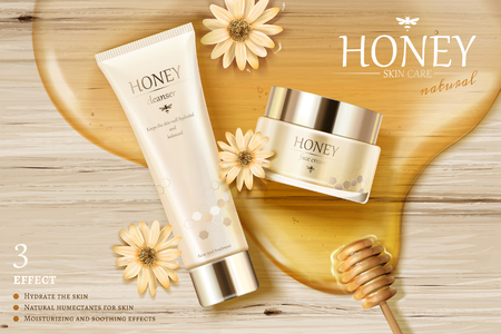 Honey skin care ads with golden color syrup and dipper on wooden table in 3d illustration, flat lay 일러스트