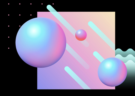Trendy geometric background with sphere and line element in pink and light blue tone Illustration