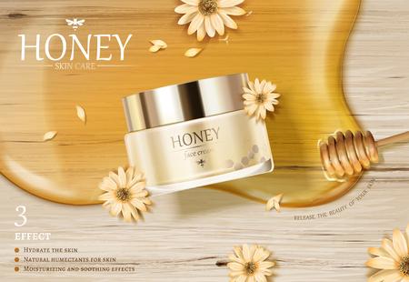 Honingcrème pot advertenties met gouden kleur siroop en Beer op houten tafel in 3d illustratie, plat leggen Vector Illustratie