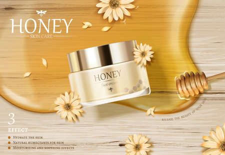 Honey cream jar ads with golden color syrup and dipper on wooden table in 3d illustration, flat lay Illustration