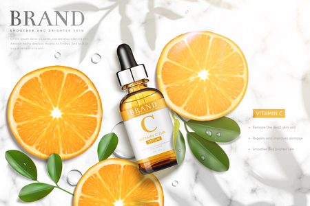 Vitamin C essence ads with sliced orange and droplet bottle laying on marble stone table, 3d illustration top view