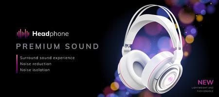 Premium white headphone ads on glitter bokeh background in 3d illustration, night party banner