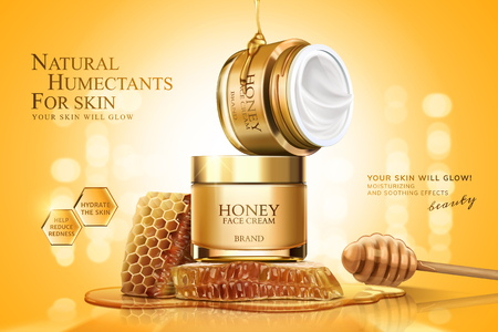 Honey cream jar ads with honeycombs and dipper on golden glittering background, 3d illustration Иллюстрация