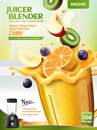 Juicer blender ads with fresh sliced fruits dropping in container on bokeh kitchen background, 3d illustration