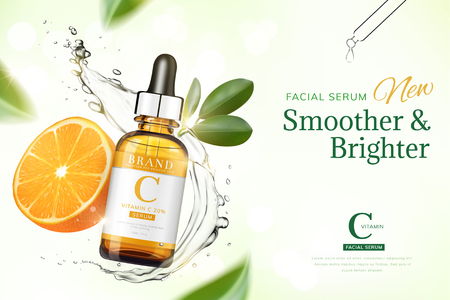 Vitamin C essence ads with orange and transparent liquid floating in the air, 3d illustration green tone background
