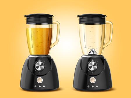 Conjunto de aparatos licuadora exprimidor en ilustración 3d, uno lleno de jugo y el otro está vacío