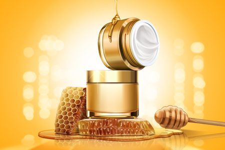 Honey cream jar ads with honeycombs and dipper on golden glittering background, 3d illustration Illustration