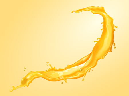 Splashing juice liquid in 3d illustration for design uses