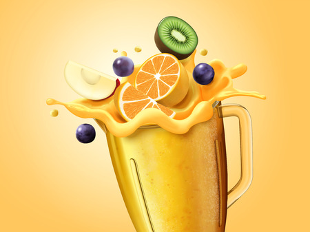 Healthy juice and sliced fruits in glass cup, 3d illustration Ilustração