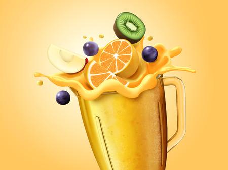 Jugo saludable y frutas en rodajas en vaso de vidrio, ilustración 3d Ilustración de vector