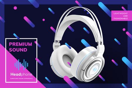 Anuncios de auriculares blancos premium sobre fondo de líneas geométricas de moda en la ilustración 3d Ilustración de vector