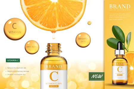 Vitamin C essence ads with sliced orange serum dripping down into the droplet bottle, 3d illustration bokeh background