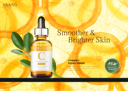 Vitamin C essence ads with translucent sliced orange and droplet bottle, 3d illustration
