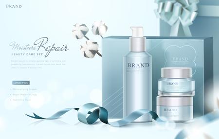 Blue skin care gift set ads with graceful wrapped boxes and cotton elements on selective focus background, 3d illustration Ilustração Vetorial