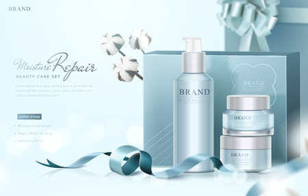 Blue skin care gift set ads with graceful wrapped boxes and cotton elements on selective focus background, 3d illustration
