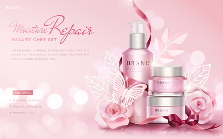 Beauty care set ads with paper art flowers and butterflies on selective focus pink background, 3d illustration