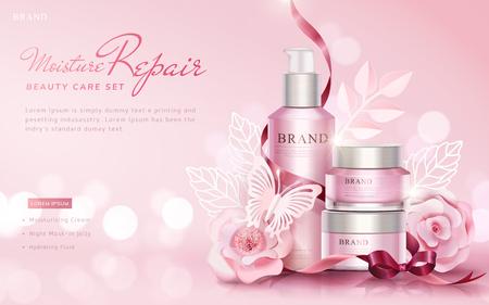 Cuidado de la belleza establece anuncios con flores de papel y mariposas sobre fondo rosa de enfoque selectivo, ilustración 3d