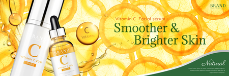 Vitamin C essence banner ads with translucent sliced orange and droplet bottle, 3d illustration