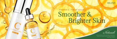 Annunci di banner di essenza di vitamina C con arancia affettata traslucida e bottiglia di goccioline, illustrazione 3d