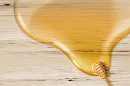 Sirop de miel et louche sur table de grain en bois en illustration 3d, fond plat avec espace copie