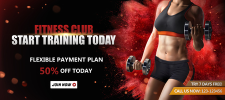 Anuncios de banner de club de fitness con una mujer sana levantando pesas sobre fondo rojo con efecto de polvo explosivo, ilustración 3d