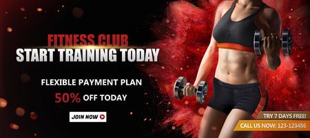 Banner pubblicitari di fitness club con una donna in buona salute che solleva pesi su sfondo rosso effetto polvere esplosiva, illustrazione 3d
