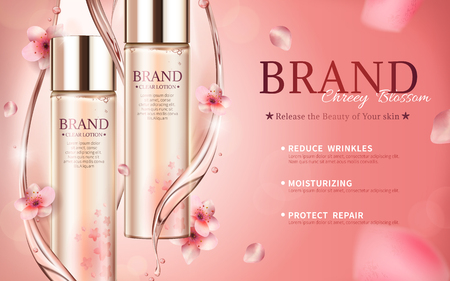 Cherry blossom skin care ads with swirl essence and petals in 3d illustration Illustration