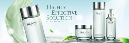 Skincare banner ads with green chiffon and leaves elements in 3d illustration Иллюстрация