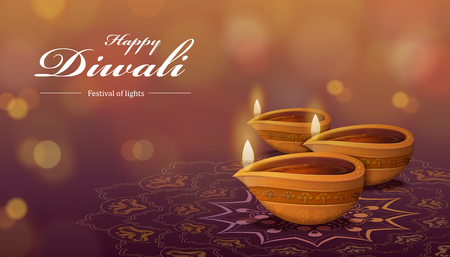Diwali festival design with diya and rangoli, which means oil lamp and floor decorations on bokeh background