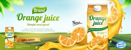 Orange juice drink banner ads with splashing beverage in 3d illustration on bokeh nature background