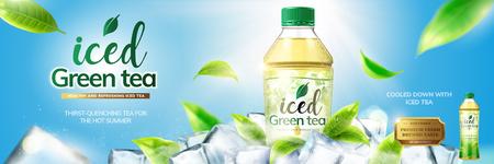 Bottled green tea banner ads with ice cubes elements in 3d illustration on blue sky background Illustration