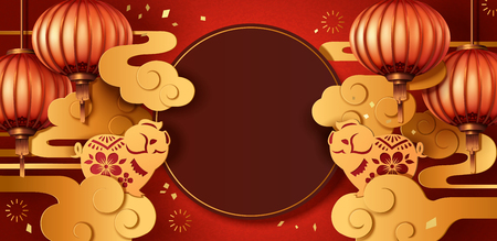 Year of the pig paper art style greeting design with lanterns and golden clouds, two cute piggy at each side 向量圖像