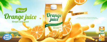 Orange juice drink banner ads with splashing beverage in 3d illustration on bokeh nature background Stockfoto - 110980283