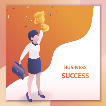 Business success concept in 3d isometric projection, business woman holding a trophy over his head 向量圖像