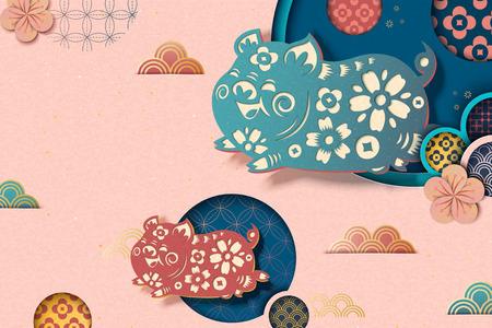 Frohes chinesisches neues Jahr, rosa Hintergrund mit fliegendem Schweinchen und Blumenmuster im Papierkunststil