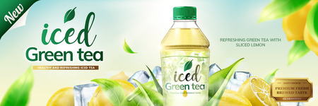 Bottled green tea banner ads with ice cubes and lemon fruit elements in 3d illustration Stock Illustratie