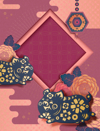 Chinese new year style background with fuchsia background with flying piggy and peony pattern in paper art style Ilustracja