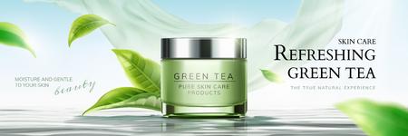 Refrescantes anuncios de banner para el cuidado de la piel de té verde con hojas voladoras y elemento de gasa en la ilustración 3d