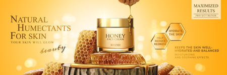 Natural honey skin care banner ads with beehive and cream jar on trunk section platform, 3d illustration glittering background Vectores
