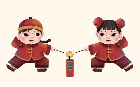 Paper art Chinese new year characters design, children lighting firecrackers