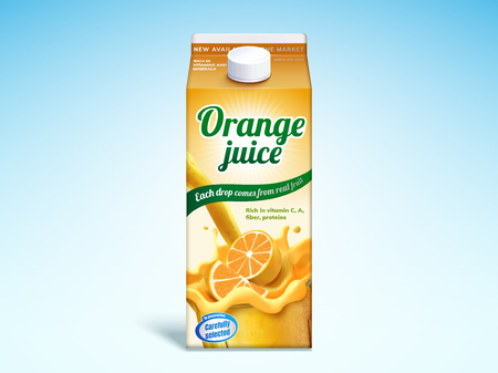 Orange juice drink carton mockup in 3d illustration on blue background