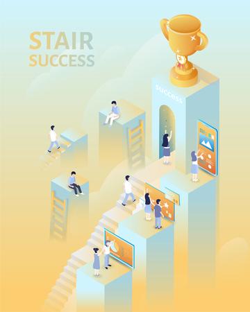 Succesconcept in 3d isometrische projectie, mensen klimmen de trap op voor de trofee