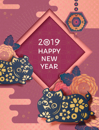 Happy New Year with flying piggy and peony pattern in paper art style, traditional Chinese style