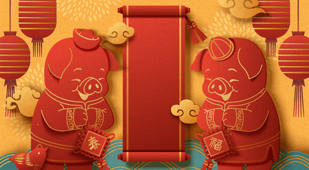 Year of the pig poster design with cute piggy greeting to each other in paper art style, Happy new year, blank spring couplets for design