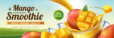 Mango-Smoothie-Banner-Werbung mit spritzendem Getränk, das in eine Tasse zum Mitnehmen in 3D-Darstellung auf Bokeh-Naturhintergrund gießt