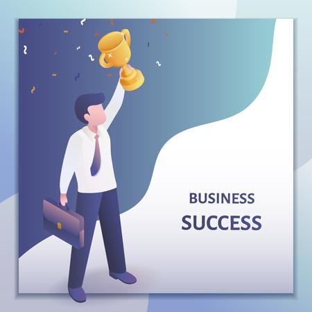 Concept de réussite commerciale en projection isométrique 3d, homme d'affaires tenant un trophée au-dessus de sa tête