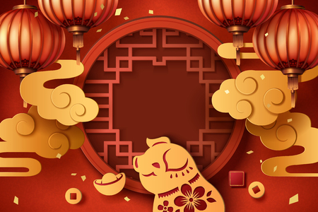 Year of the pig paper art style greeting design with lanterns and golden clouds, traditional window frames in the middle
