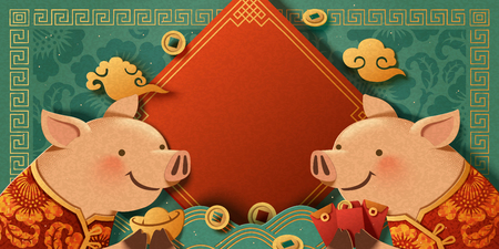 Lovely paper art piggy greeting each other on turquoise background