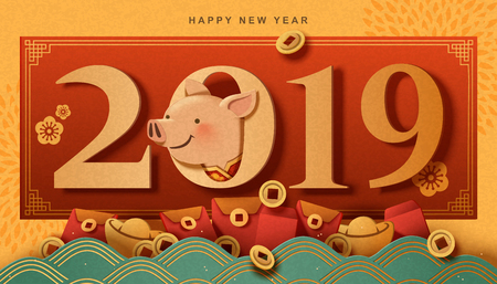 Lovely piggy reached out its head from 2019, year of the pig greeting card in paper art