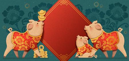 Precioso cerdito de arte de papel que lleva ropa tradicional con fondo de coplas de primavera, banner de año nuevo chino